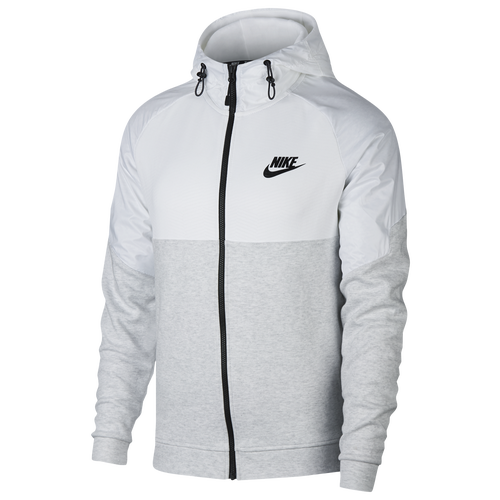 The Most Popular Nike Advance 15 Block Full-Zip Hoodie Birch Heather/White/Black For Men On Sale