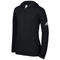 adidas Team Fleece Hoodie - Boys' Grade School - Black / White
