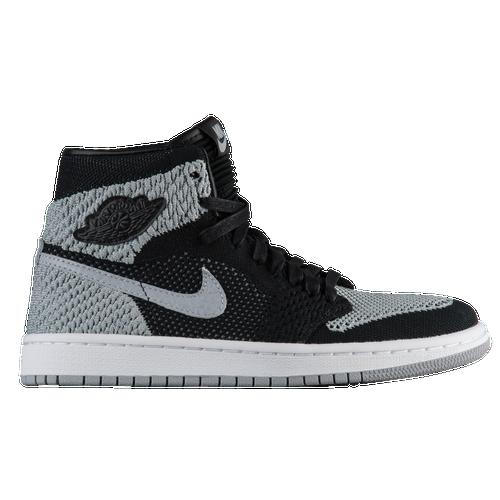 0f100f50db1224 ... Jordan Retro 1 High Flyknit - Boys Grade School - Basketball - Shoes -  Black Grey ...