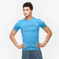 Eastbay EVAPOR Core Compression S/S Crew Top - Men's - Light Blue / Light Blue