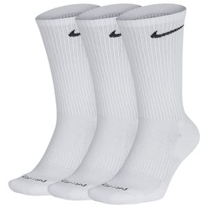 Nike 3 Pack Dri-FIT Plus Crew Socks - Men's - White/Black