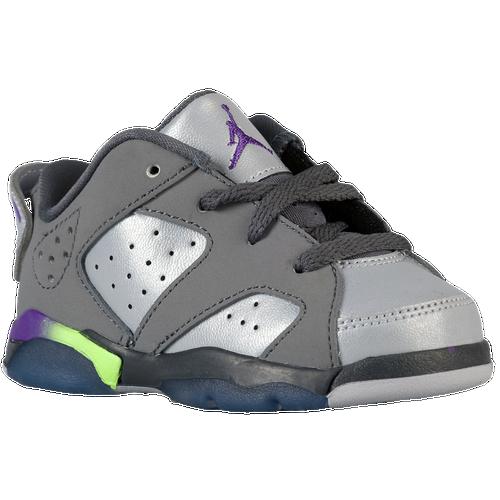 Jordan Retro 6 Low - Girls' Toddler - Basketball - Shoes - Dark Grey/ Ultraviolet/Wolf Grey/Ghost Green