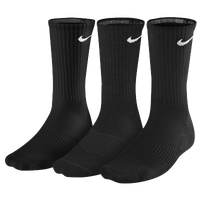 Nike 3 Pack Moisture MGT Cushion Crew Socks - Men's - Black / Black