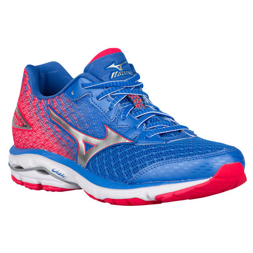 736373 Womens Mizuno Wave Rider 19 Palace Blue/Silver/Diva Pink