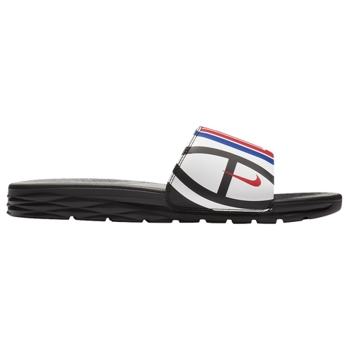 best Nike Benassi Solarsoft NBA Slide Men s Casual Shoes Los Angeles Clippers Black White University Red Rush Blue