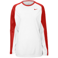 Nike Team Elite L/S Shooting Shirt - Women's - White / Red