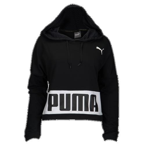 PUMA Urban Sports Cropped Hoodie - Women's Casual - Black/White 85002401