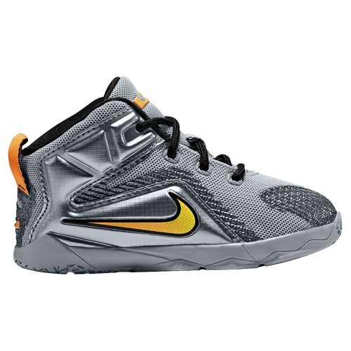 Nike LeBron 12 - Boys' Toddler - Basketball - Shoes - Wolf Grey/Bright  Citrus/Black