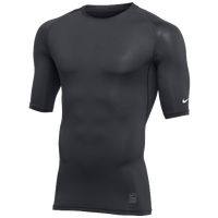 Nike Team 1/2 Sleeve Compression Top - Men's - Grey / White