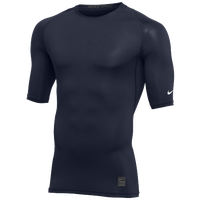 Nike Team 1/2 Sleeve Compression Top - Men's - Navy / White