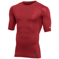Nike Team 1/2 Sleeve Compression Top - Men's - Red / White