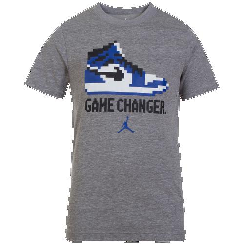 80857188edb2a4 Jordan Pixel Pack Game Changer T-Shirt - Boys  Grade School - Basketball -  Clothing - Carbon Heather Deep Royal Blue Black