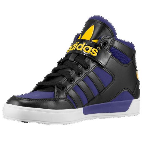 adidas Originals Hard Court Hi Strap - Boys' Grade School - Casual -  Basketball - Black/Black/Collegiate Purple