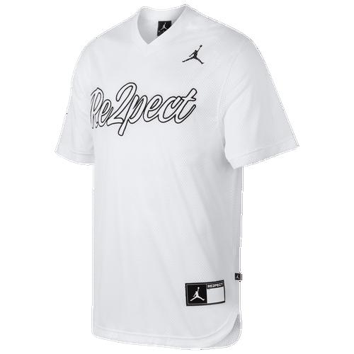 Jordan Re2pect Baseball Jersey - Men s - Basketball - Clothing - White Black 3a864a78ae35