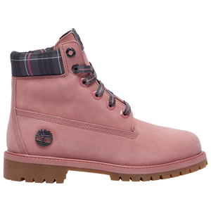 "Timberland 6"" Premium Waterproof Boots - Girls' Grade School - Medium Pink/Gray/No Color"