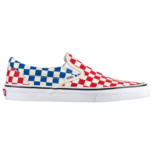 Vans Classic Slip On - Men s - Casual - Shoes - Red Blue Checkerboard e0d1dad82