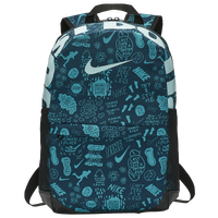 Nike Brasilia AOP Backpack - Grade School - Dark Green / Aqua