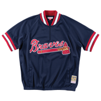 Mitchell & Ness MLB 1/4 Zip Jacket - Men's - Atlanta Braves - Navy