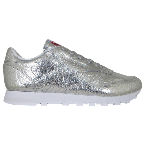 Reebok Classic Leather - Women s - Casual - Shoes - Silver Metallic Snowy  Grey Primal Red White  52d25dd7575df