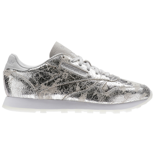 4b189524e1f Reebok Classic Leather - Women s - Casual - Shoes - Silver Metallic Skull  Grey White