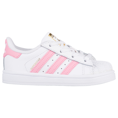 adidas Originals Superstar - Girls' Toddler - Basketball - Shoes -  White/Light Pink/Met Gold