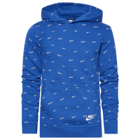 Nike NSW Club PO BB AOP Hoodie - Boys' Grade School - Blue