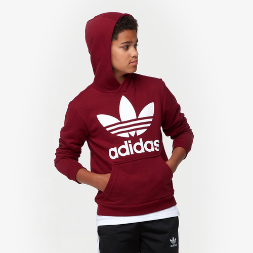 44f95d901a14 adidas Originals Adicolor Trefoil Hoodie - Boys  Grade School - Casual -  Clothing - Burgundy White