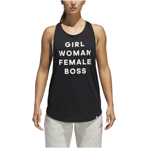 adidas Athletics Girl Boss Tank - Women's - Casual - Clothing - Black/White