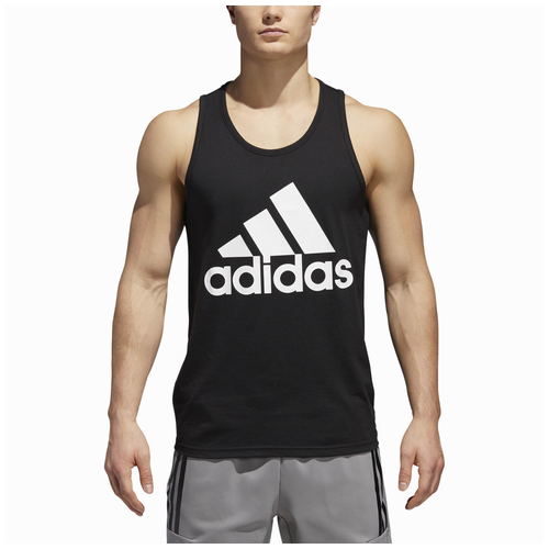 adidas Athletics Badge of Sport Tank - Men's - Casual - Clothing - Black/ White