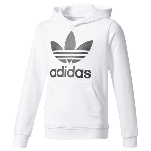 adidas originals trefoil hoodie boys 39 grade school casual clothing white black. Black Bedroom Furniture Sets. Home Design Ideas