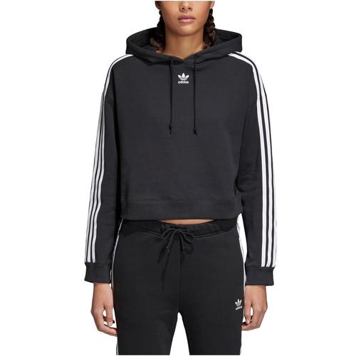 adidas Originals Adicolor 3 Stripe Cropped Hoodie - Women's - Casual -  Clothing - Black/White