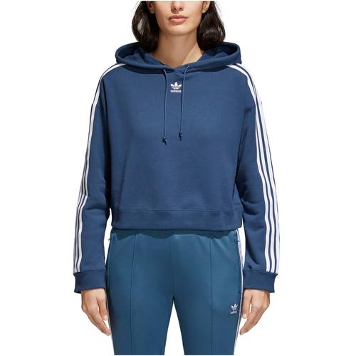 42c2d0c1 adidas Originals Adicolor 3 Stripe Cropped Hoodie - Women's - Casual -  Clothing - Black/White