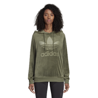 adidas Originals Winter Ease Velvet Hoodie - Women's - Olive Green