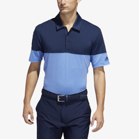 adidas Ultimate Heathered Blocked Golf Polo - Men's - Light Blue / Navy