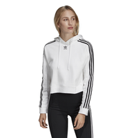adidas Originals Adicolor 3 Stripe Cropped Hoodie - Women's - White