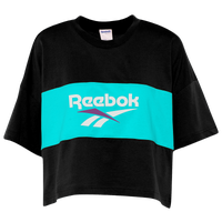 Reebok Classic Vector Cropped T-Shirt - Women's - Black / Aqua