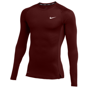 Nike Team Pro L/S Compression Top - Men's - Deep Maroon/White