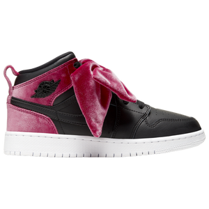 Jordan AJ 1 Mid Bow - Girls' Grade School - Black/Noble Red