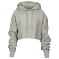 Champion Reverse Weave Cropped Cut Off Hoodie - Women's - Grey