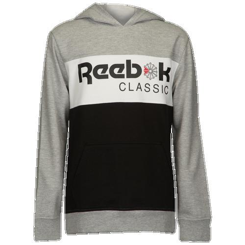 d4145db77db7 Reebok Color Block Pullover Hoodie - Boys  Grade School - Reebok - Casual -  Grey Black White