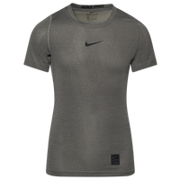Nike Team Pro Compression S/S Top - Boys' Grade School - Grey