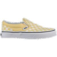 yellow checkered slip on vans