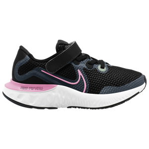Nike Renew Run - Girls' Preschool - Black/Pink Glow/Light Smoke Grey