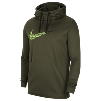 Nike Therma Fleece Graphic Swoosh Hoodie - Men's - Olive Green