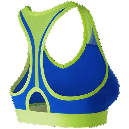 New Balance Pace Bra - Women's Training - Electric  Blue/Lime Glow WB71034E
