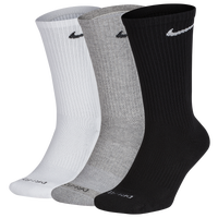Nike 3 Pack Dri-FIT Plus Crew Socks - Men's - White / Grey