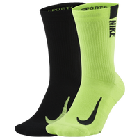Nike Multiplier Crew Running 2pk Sock - Men's - Green / Black